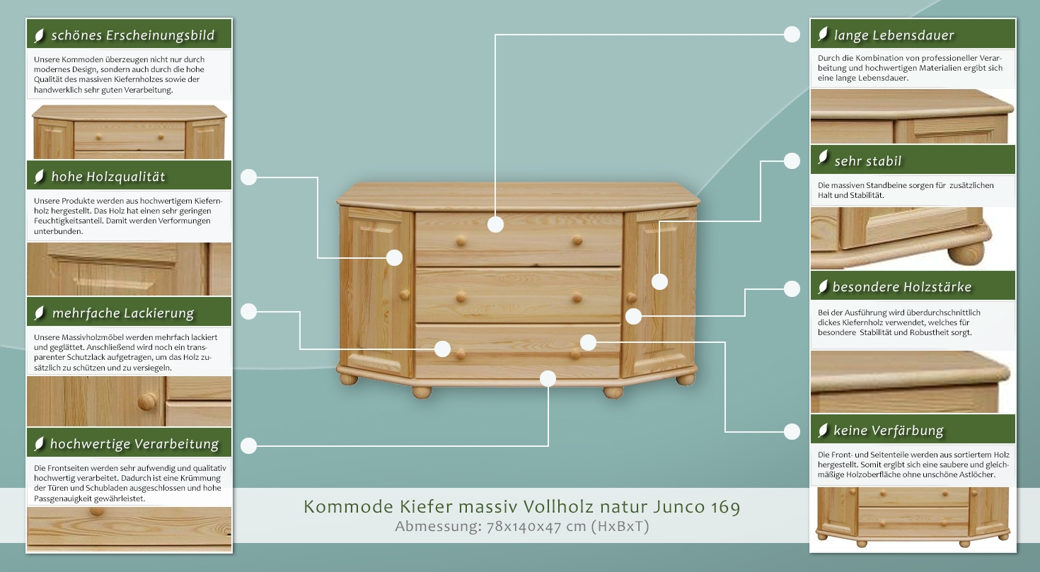 Kommode kiefer massiv vollholz natur junco 169 abmessung for Kommode 140 x 100