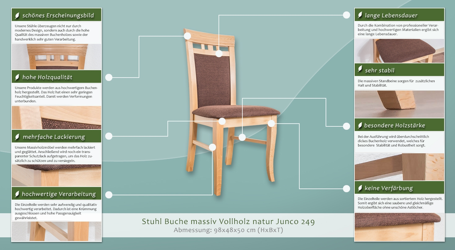 stuhl buche massiv vollholz natur junco 249 abmessung 98 x 48 x 50 cm. Black Bedroom Furniture Sets. Home Design Ideas