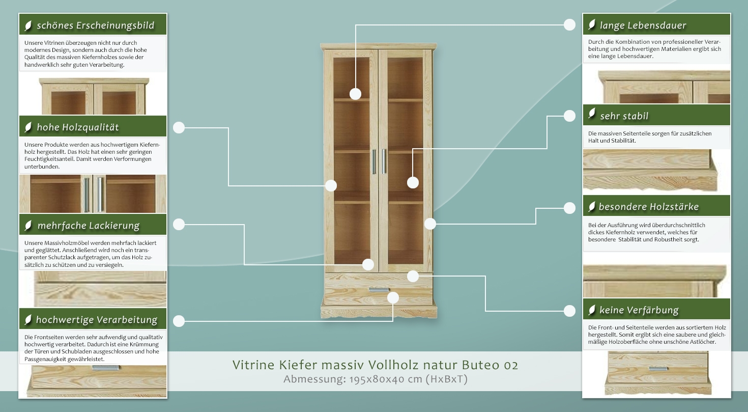 vitrine regal b cherregal vitrine t ren 2 h he cm 195 l nge tiefe cm 40 breite cm 80. Black Bedroom Furniture Sets. Home Design Ideas