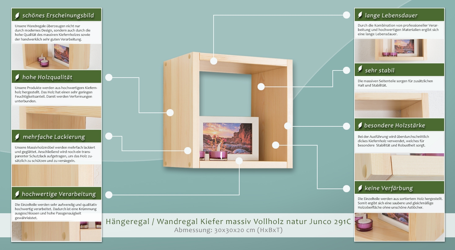 wandregal kiefer massiv vollholz natur junco 291c abmessung 30 x 30. Black Bedroom Furniture Sets. Home Design Ideas