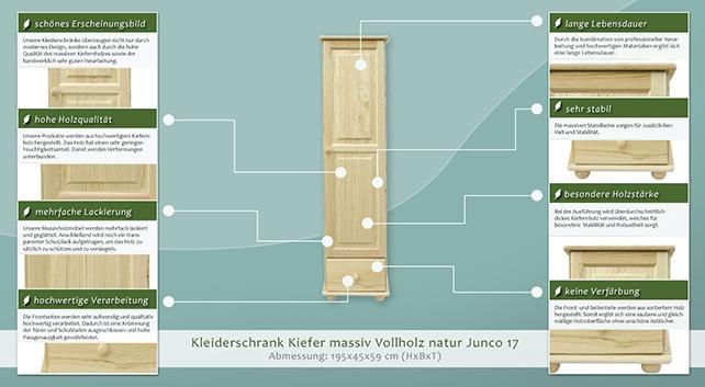 kleiderschrank massiv natur 195x45x59 cm t ren 1 h he cm 195 l nge tiefe cm 59 breite. Black Bedroom Furniture Sets. Home Design Ideas