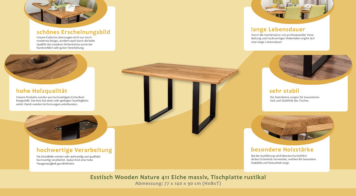Esstisch Wooden Nature 411 Eiche massiv geölt, Tischplatte rustikal ...