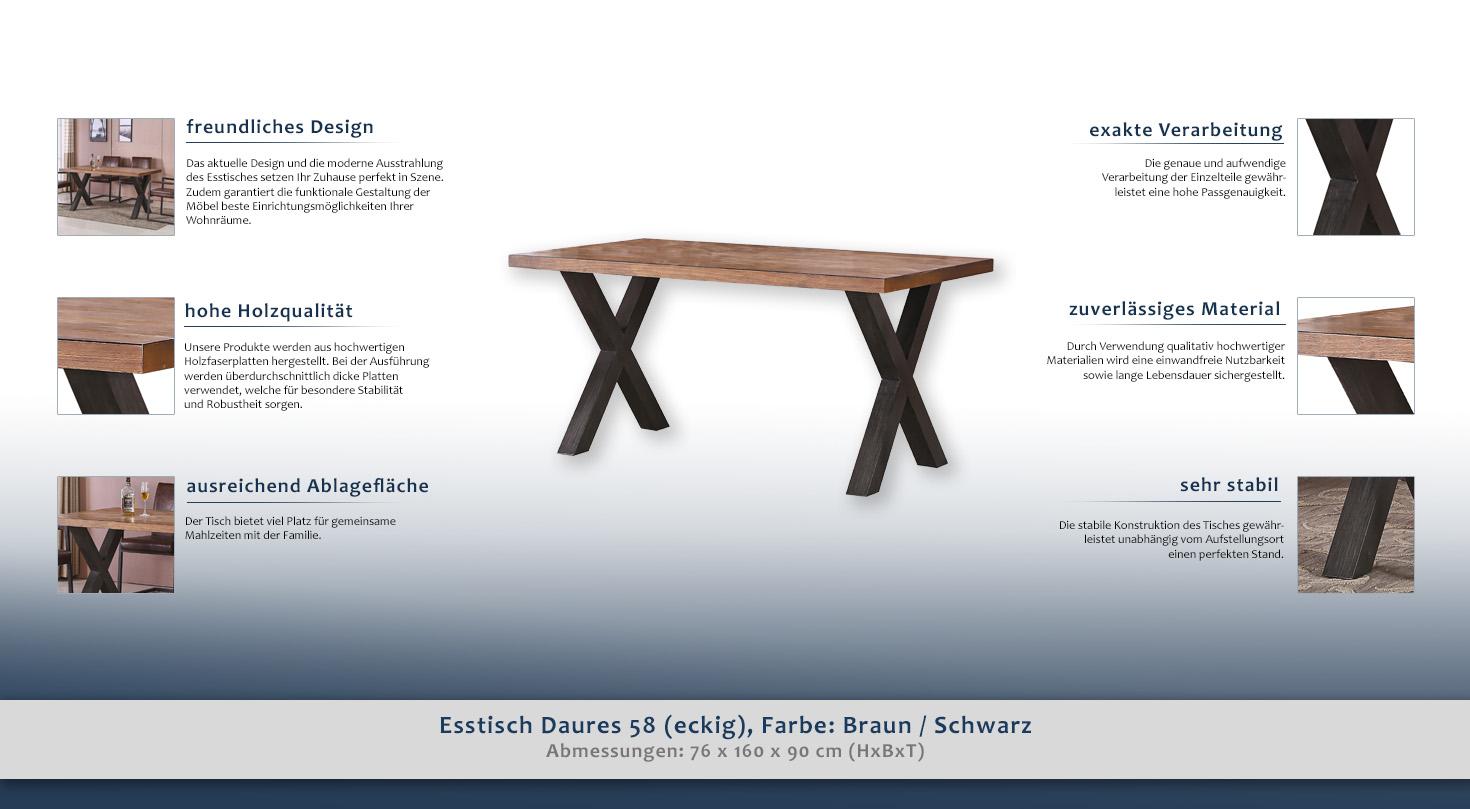Esstisch Daures 58 (eckig), Farbe: Braun / Schwarz ...