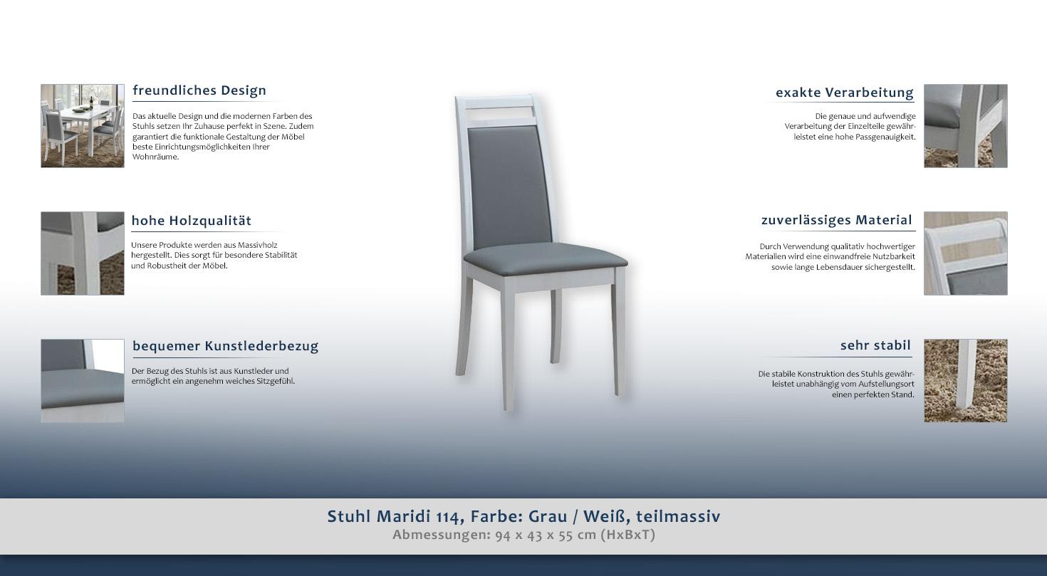 stuhl maridi 114 farbe grau wei teilmassiv. Black Bedroom Furniture Sets. Home Design Ideas