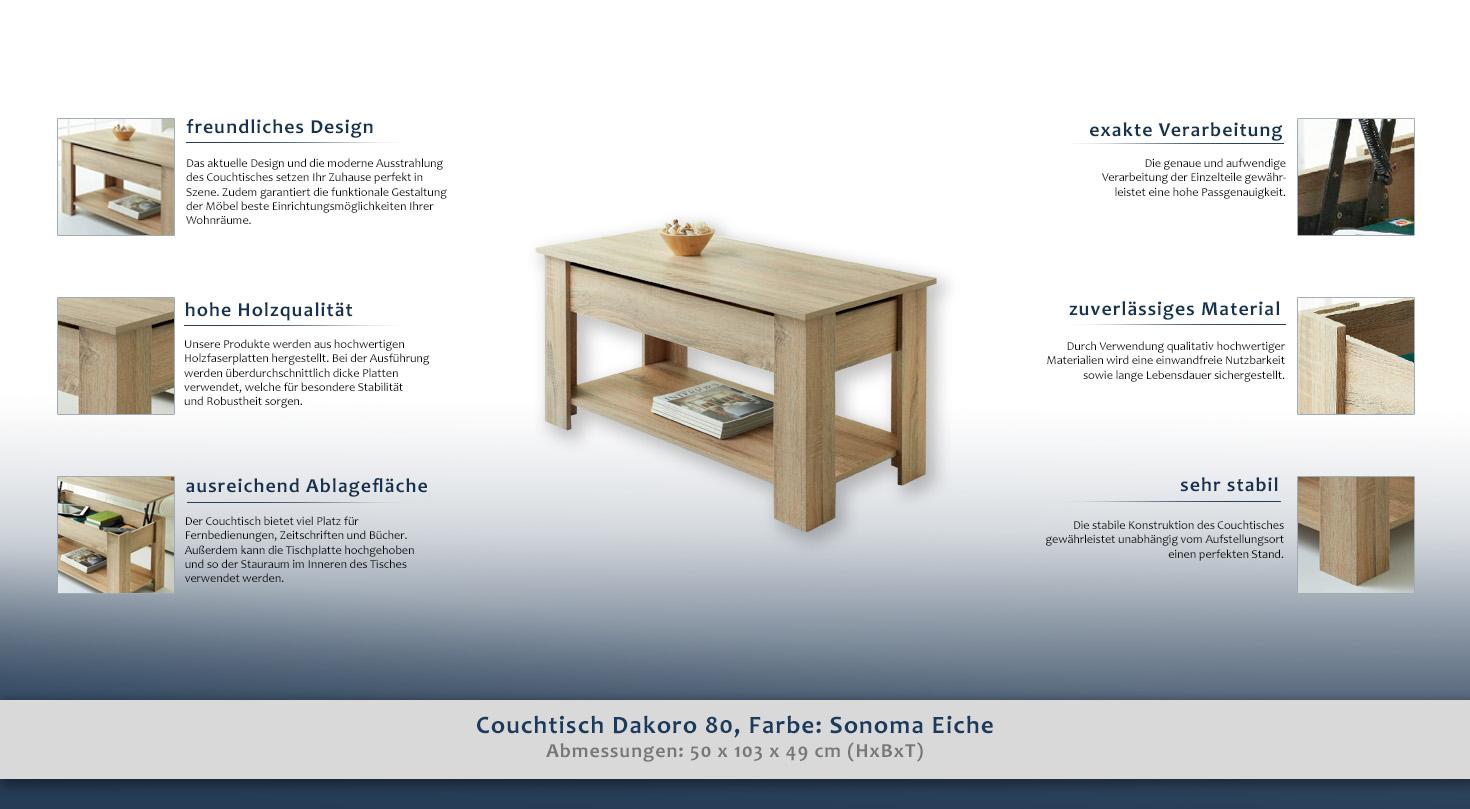couchtisch farbe sonoma eiche 50x103x49 cm wohnzimmerm bel wohnzimmereinrichtung h he cm 50. Black Bedroom Furniture Sets. Home Design Ideas