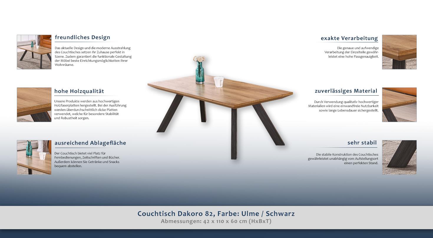 beistelltisch couchtisch farbe braun 42x110x60 cm h he cm 42 l nge tiefe cm 60 breite. Black Bedroom Furniture Sets. Home Design Ideas