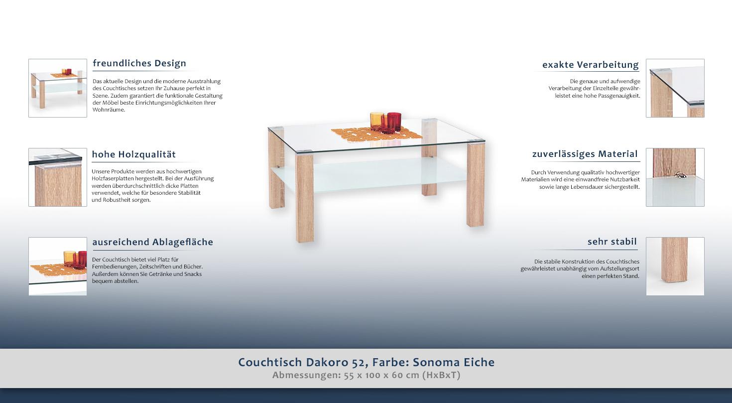 couchtisch farbe sonoma eiche 55x100x60 cm wohnzimmerm bel wohnzimmereinrichtung h he cm 55. Black Bedroom Furniture Sets. Home Design Ideas