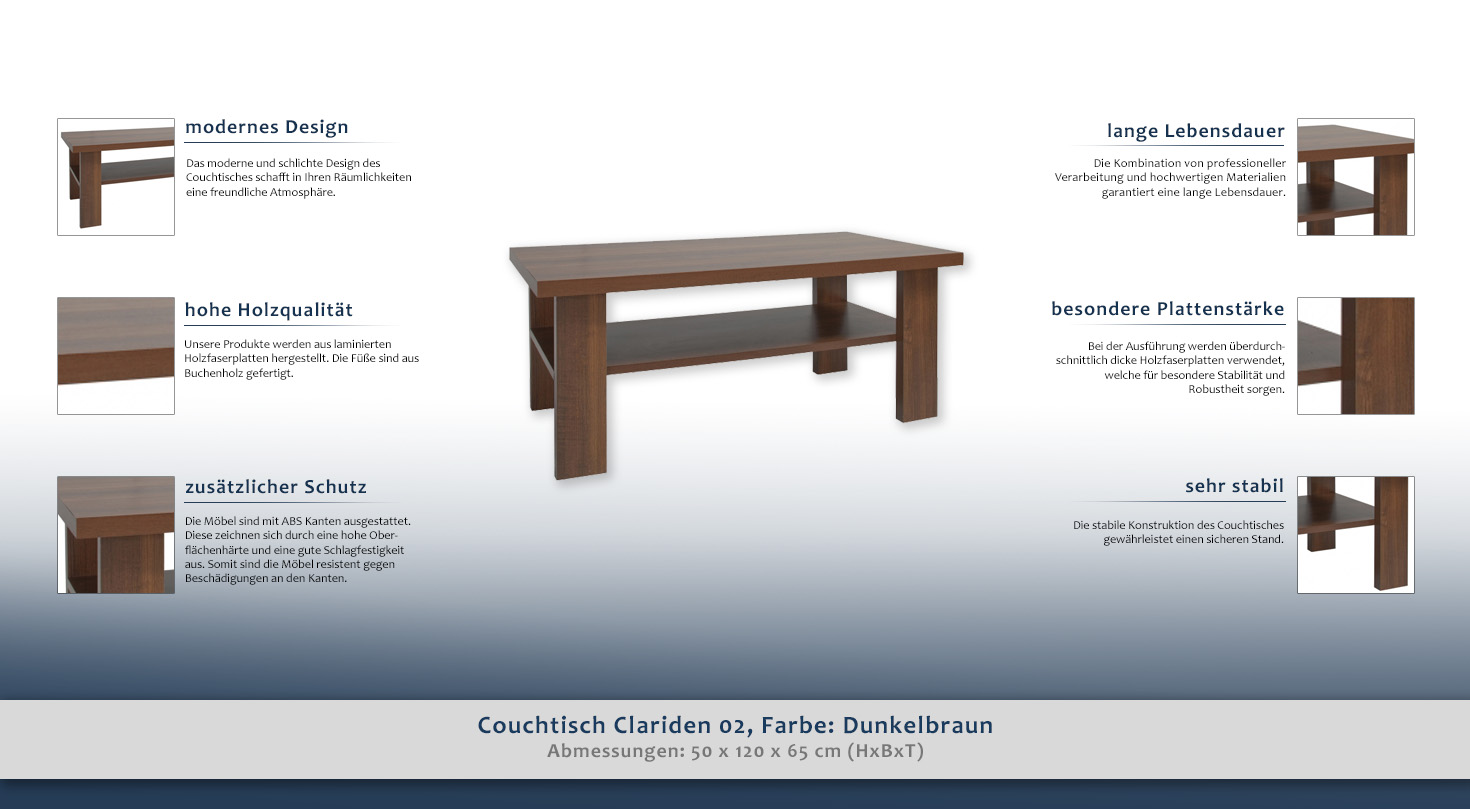 sofatisch clubtisch loungetisch couchtisch farbe dunkelbraun 50x120x65 cm h he cm 50 l nge. Black Bedroom Furniture Sets. Home Design Ideas