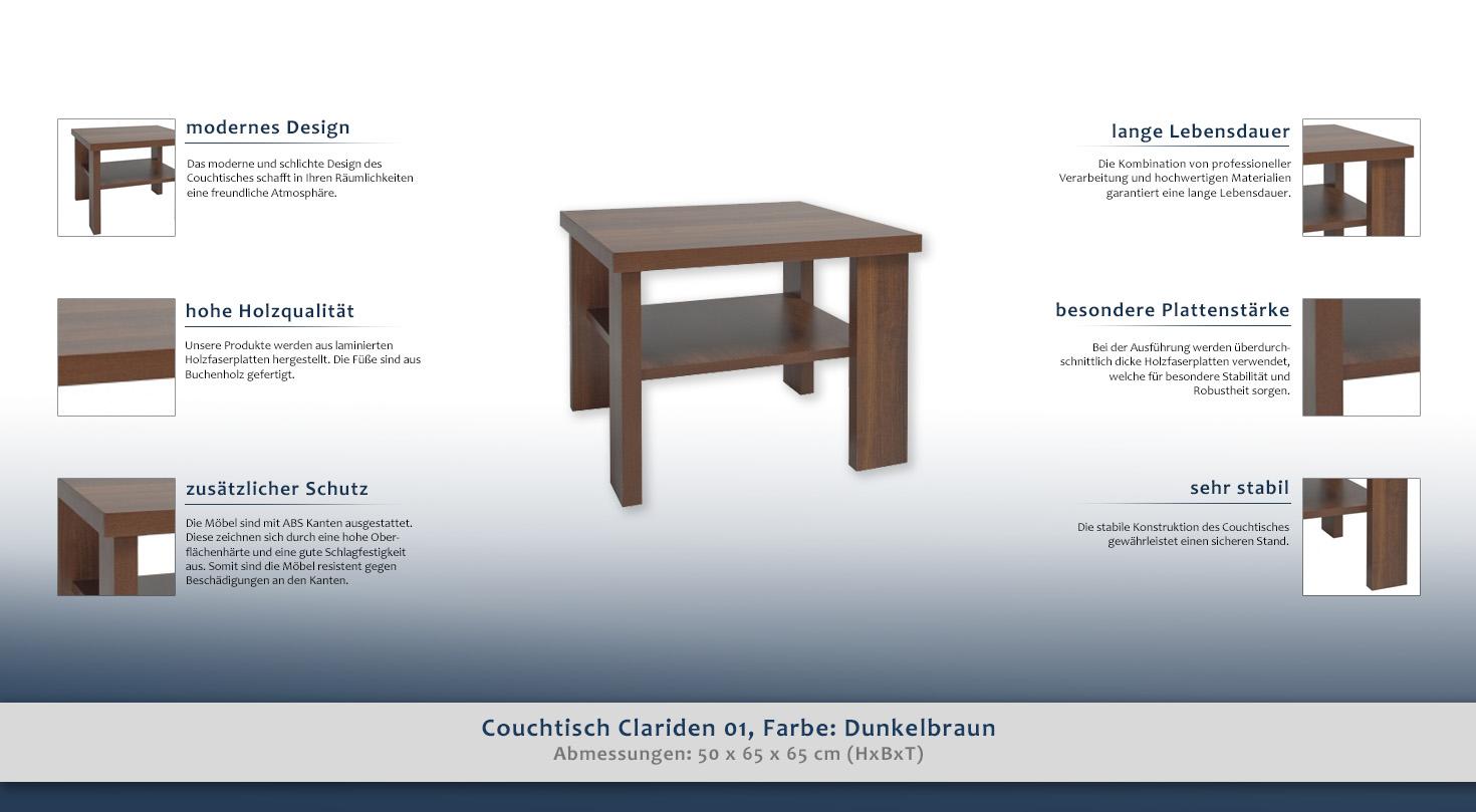 beistelltisch couchtisch farbe dunkelbraun 50x65x65 cm. Black Bedroom Furniture Sets. Home Design Ideas