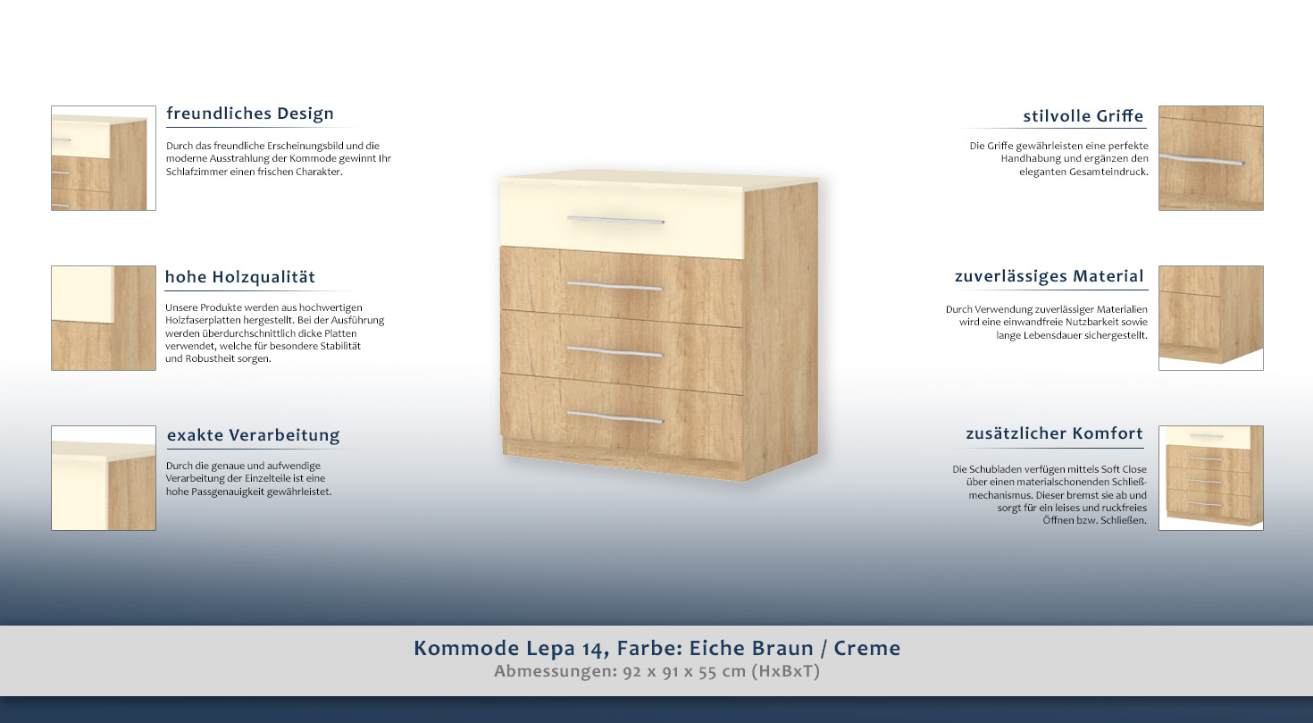 kommode lepa 14 farbe eiche braun creme abmessungen 92 x 91 x 55 cm h x b x t. Black Bedroom Furniture Sets. Home Design Ideas