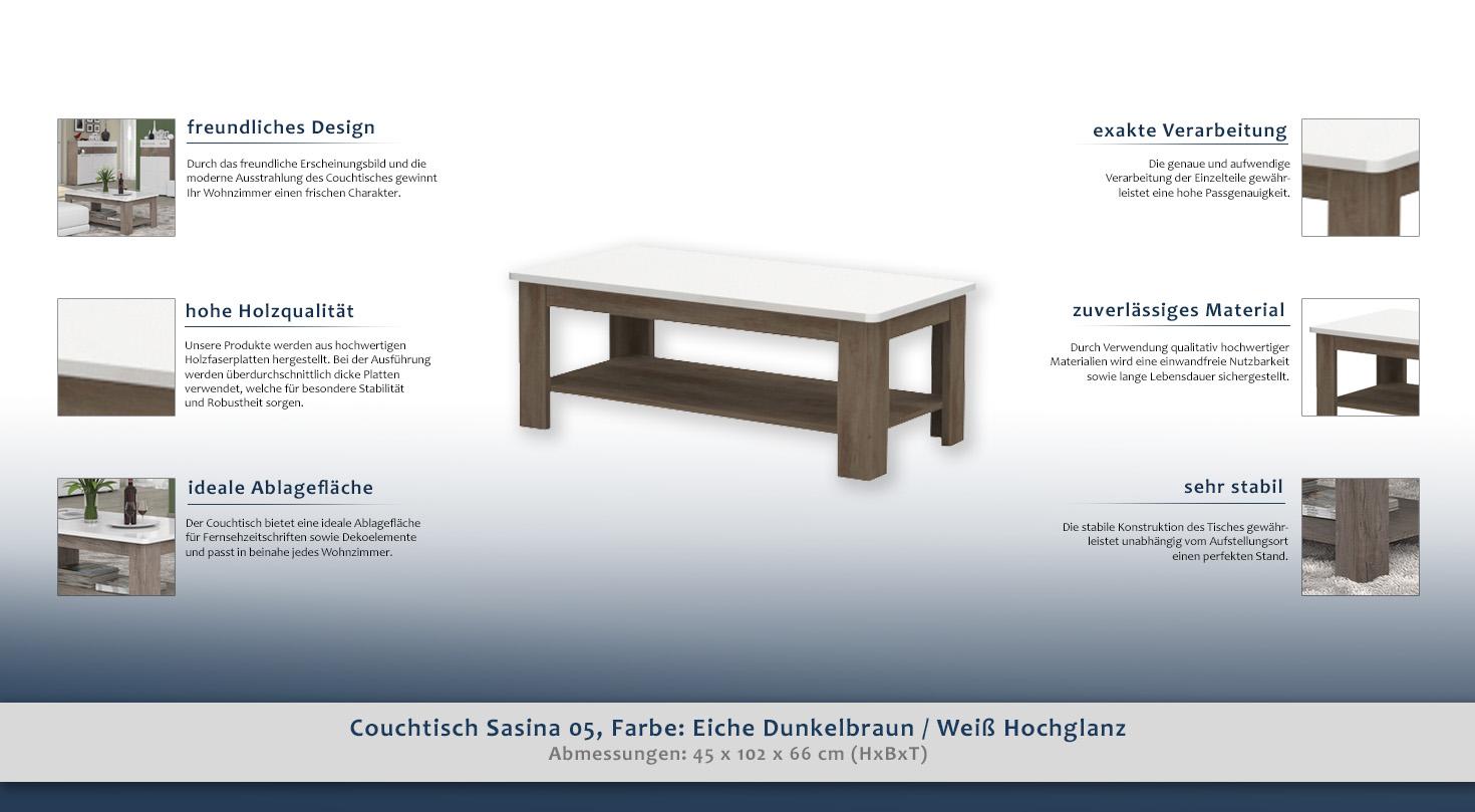 beistelltisch couchtisch farbe dunkelbraun 45x102x66 cm h he cm 45 l nge tiefe cm 66. Black Bedroom Furniture Sets. Home Design Ideas