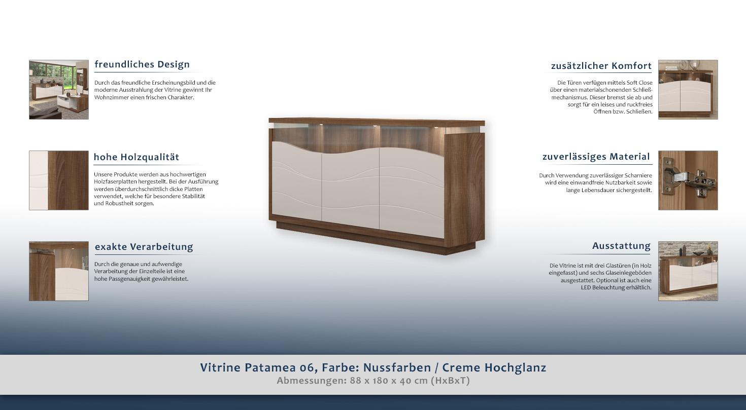 vitrine f r das wohnzimmer farbe nuss t ren 3 h he cm 88 l nge tiefe cm 40 breite cm. Black Bedroom Furniture Sets. Home Design Ideas