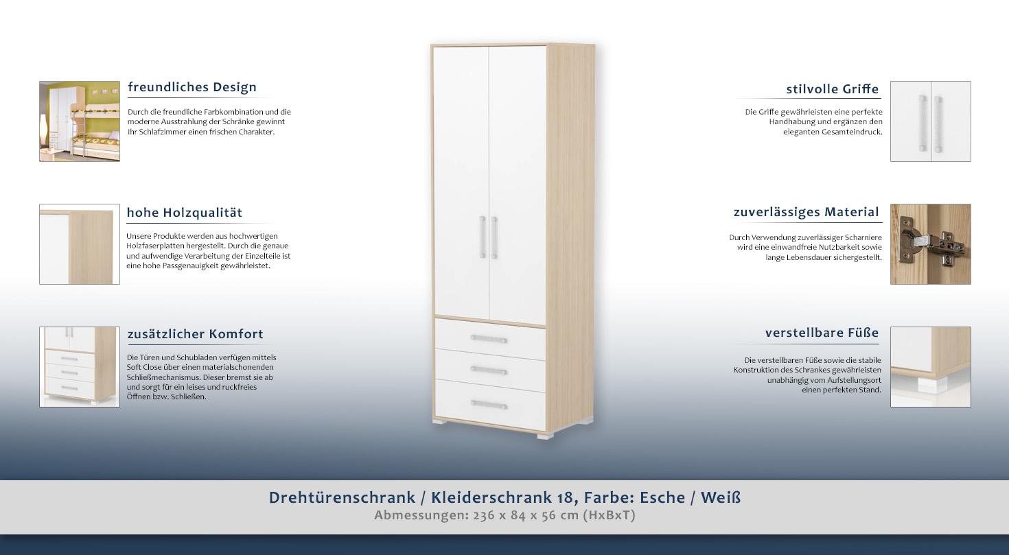 Drehtürenschrank / Kleiderschrank 18, Farbe: Esche / Weiß ...