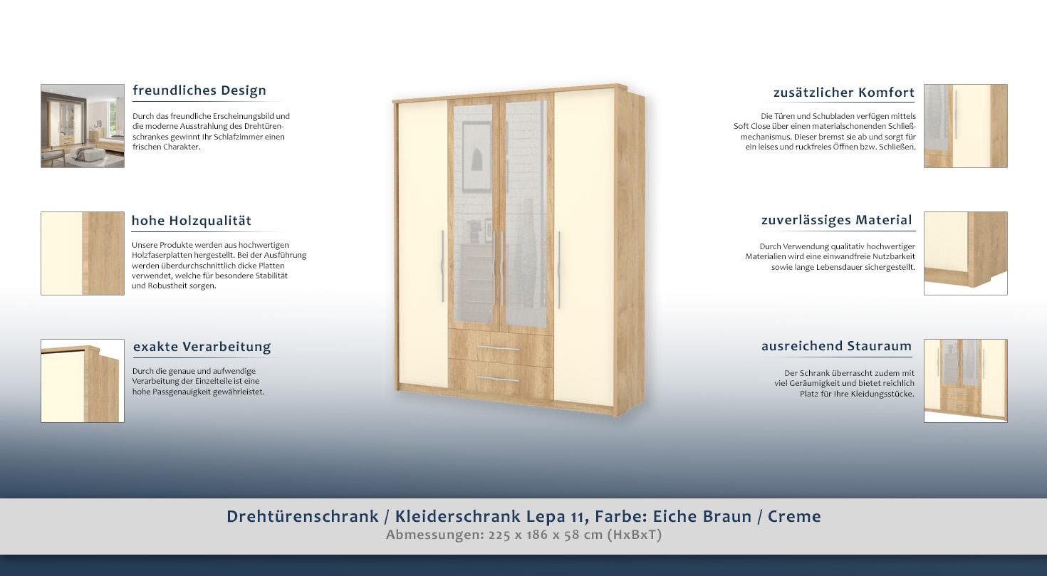 kleiderkasten hellbraun 225x186x58 cm dreht renschrank t ren 4 h he cm 225 l nge tiefe cm. Black Bedroom Furniture Sets. Home Design Ideas