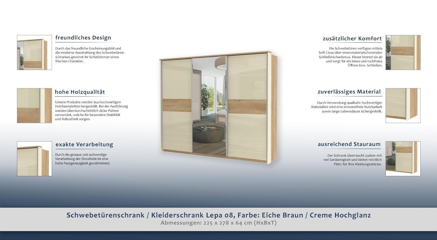 kleiderschrank hellbraun 225x278x64 cm schwebet renschrank t ren 3 h he cm 225 l nge tiefe. Black Bedroom Furniture Sets. Home Design Ideas