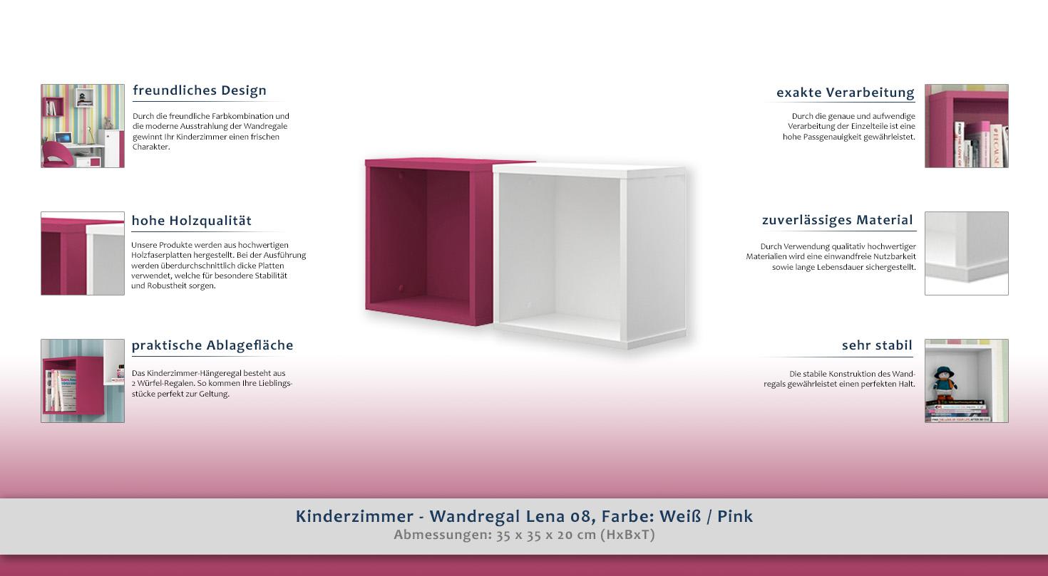 Kinderzimmer Wandregal Lena 08 Farbe Weiss Pink Abmessungen