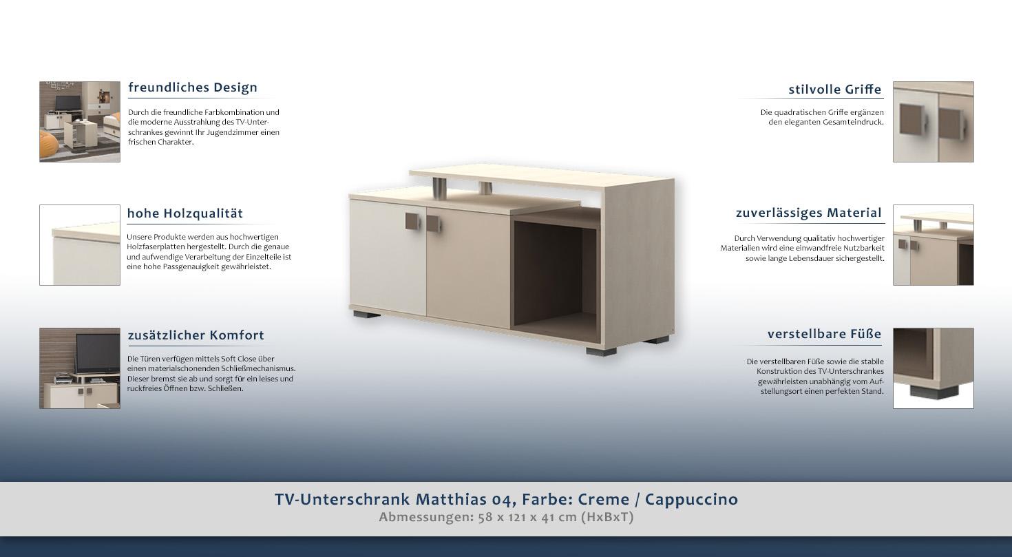 tv schrank farbe creme 58x121x41 cm t ren 2 h he cm 58 l nge tiefe cm 41 breite cm. Black Bedroom Furniture Sets. Home Design Ideas