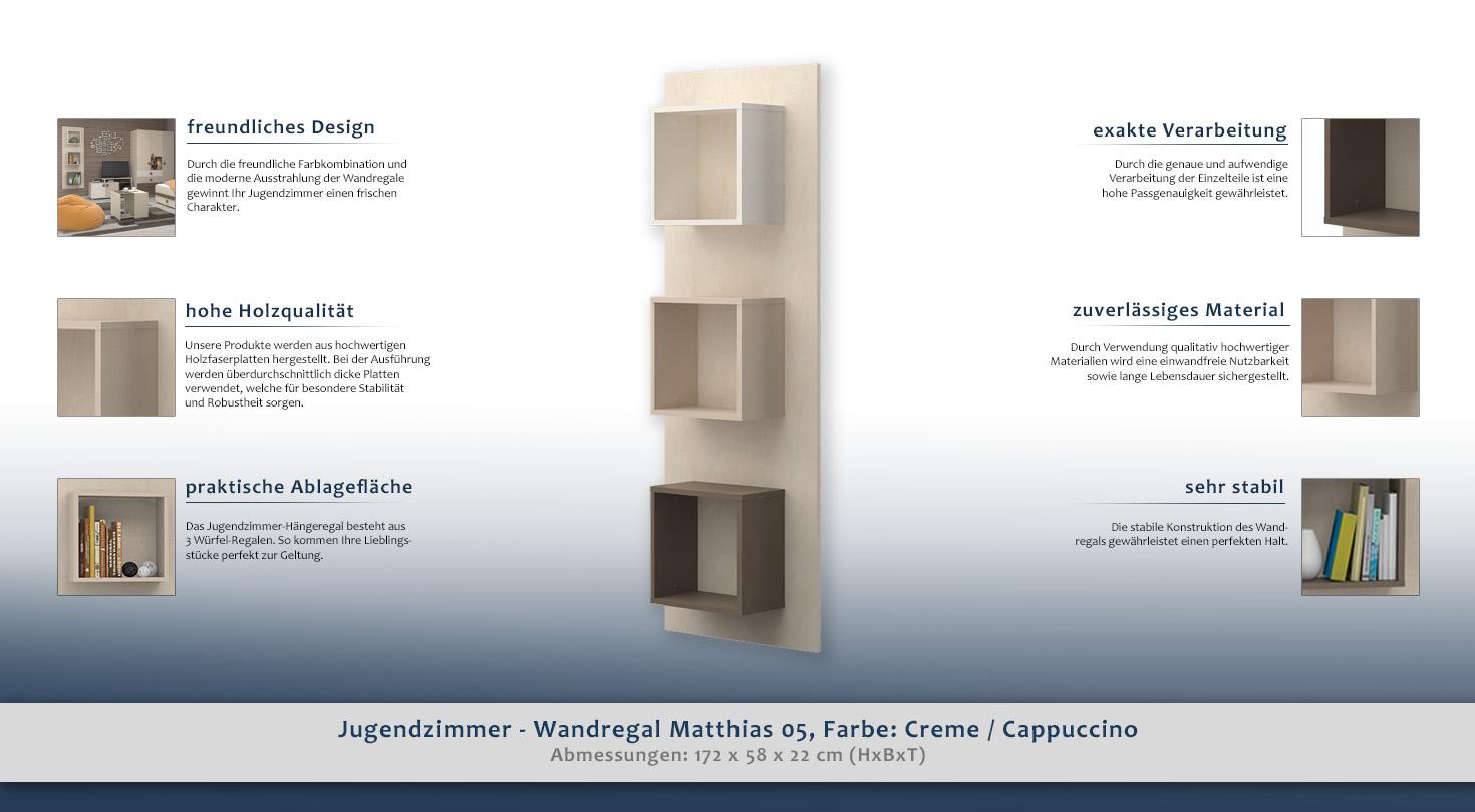 kinderzimmer regal 58 cm breit farbe creme h he cm 172 l nge tiefe cm 22 breite cm 58. Black Bedroom Furniture Sets. Home Design Ideas