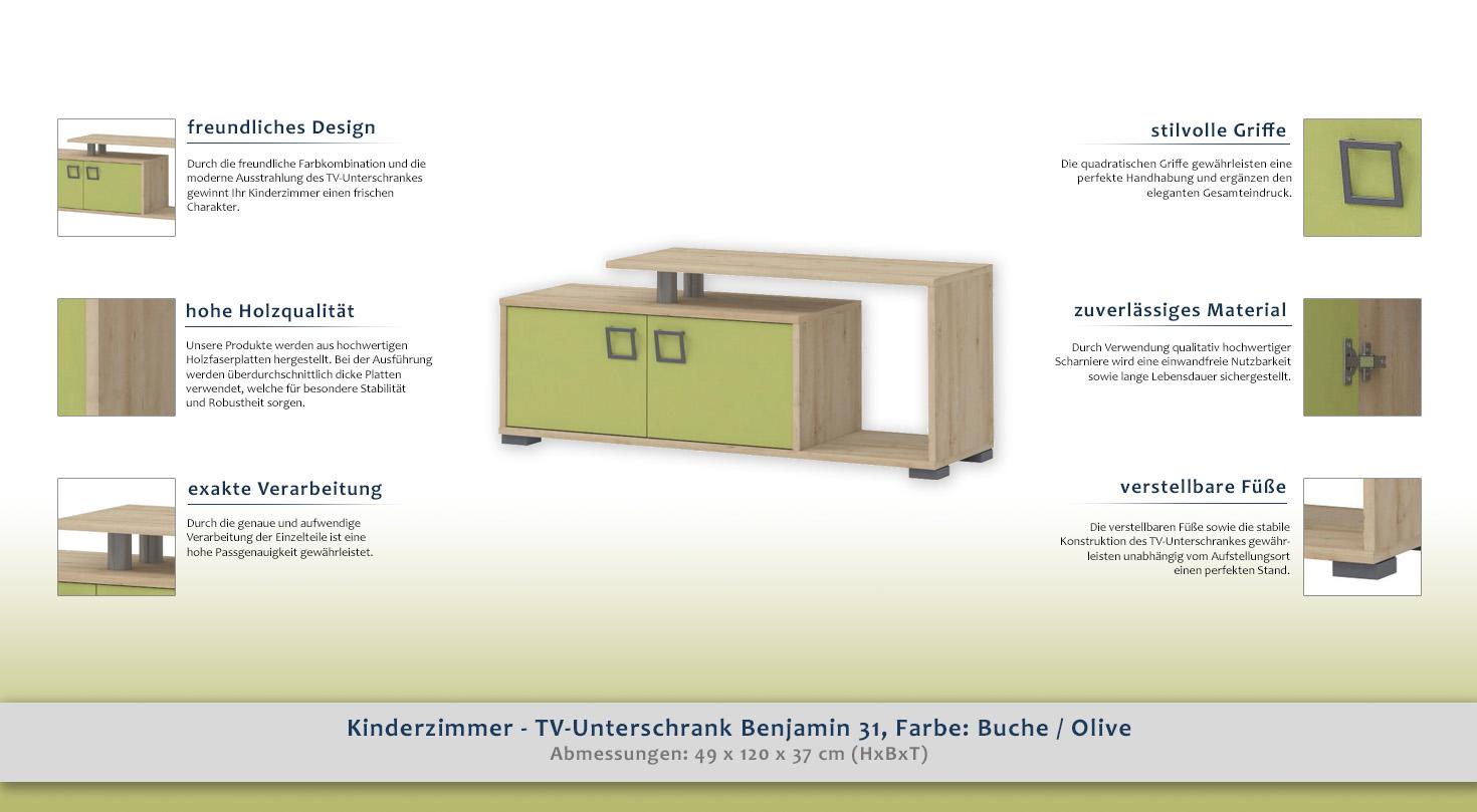 kinderzimmer tv unterschrank benjamin 31 farbe buche olive 49 x 120 x 37 cm h x b x t. Black Bedroom Furniture Sets. Home Design Ideas