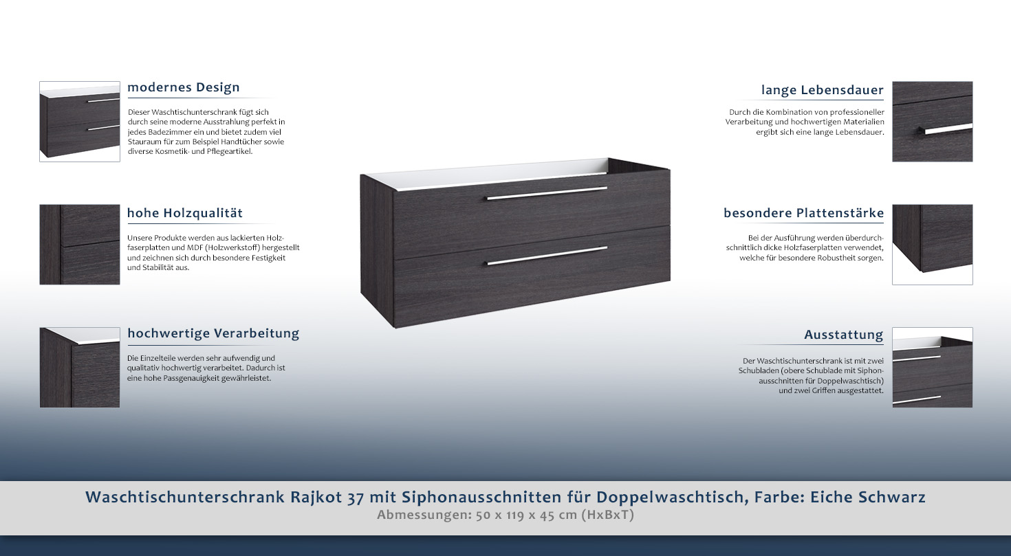 waschtischunterschrank rajkot 37 mit siphonausschnitte f r doppelwaschtisch farbe eiche. Black Bedroom Furniture Sets. Home Design Ideas