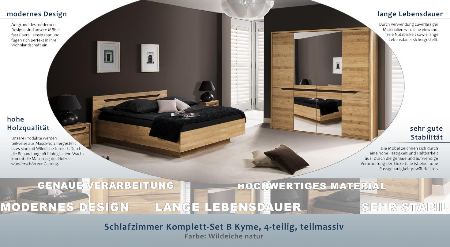 Schlafzimmer Komplett Set B Kyme 4 Teilig Teilmassiv Farbe