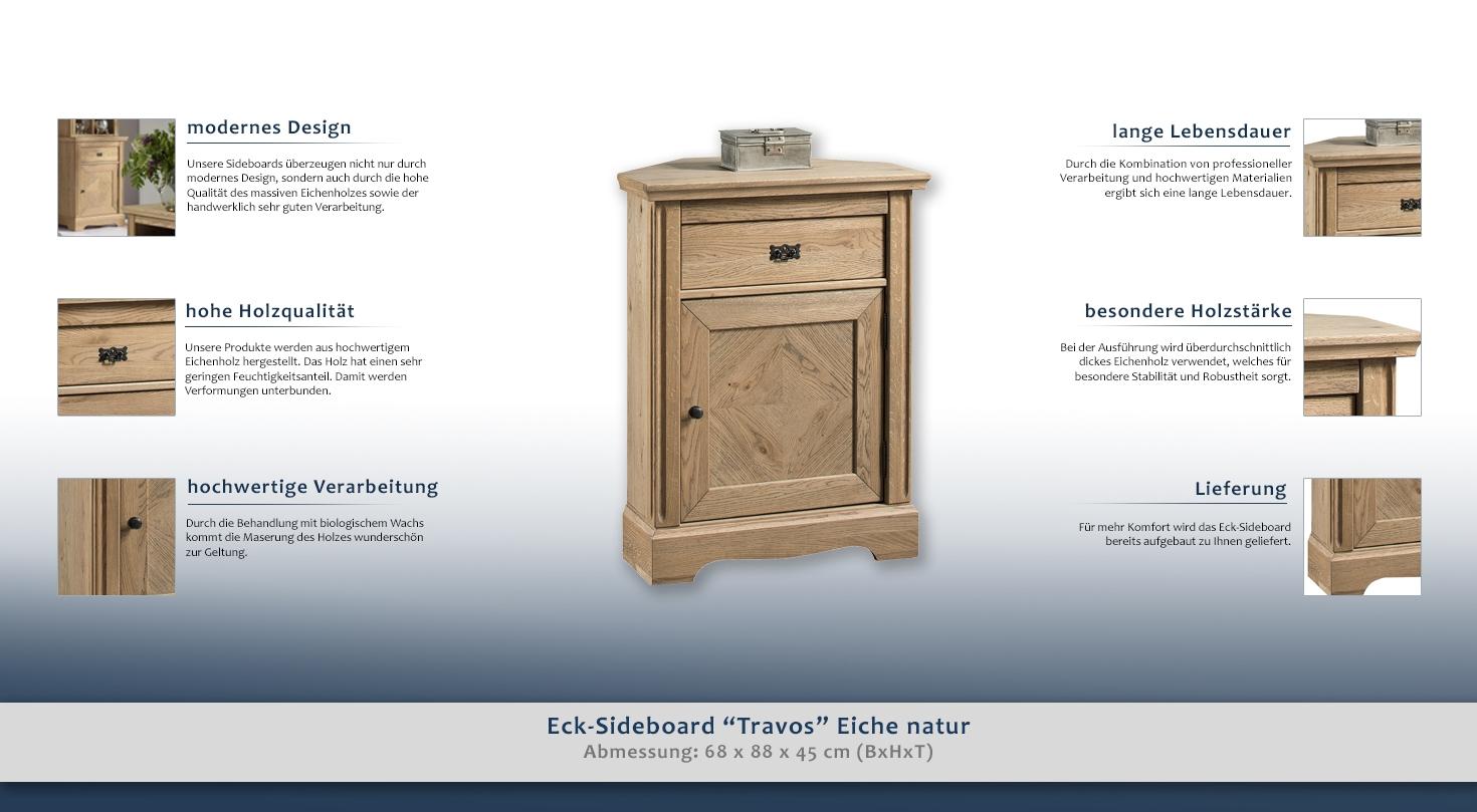 eck sideboard travos eiche natur teilmassiv 88 x 68 x 45 cm h x b x t. Black Bedroom Furniture Sets. Home Design Ideas