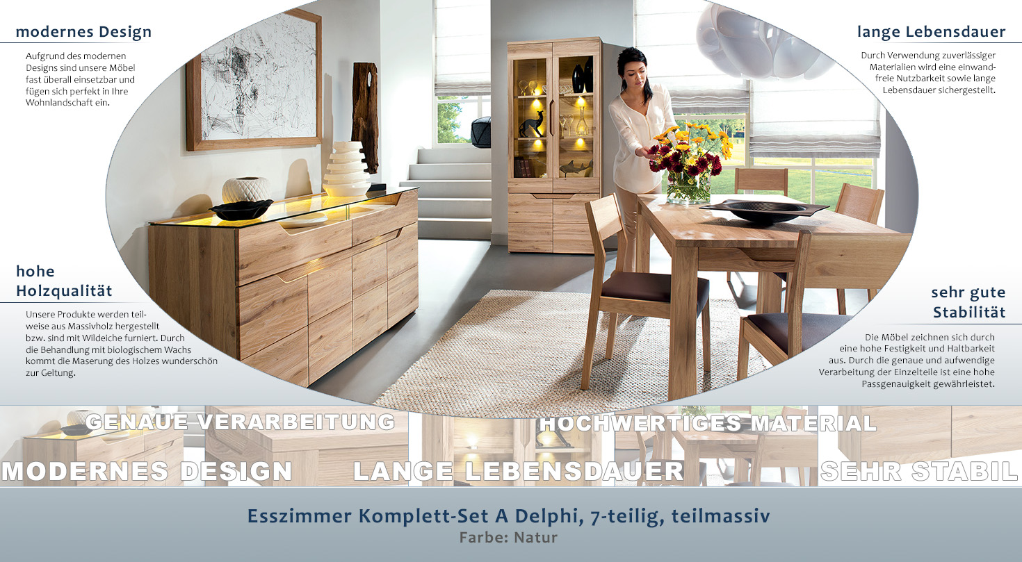 esszimmer komplett set a delphi 7 teilig teilmassiv farbe natur. Black Bedroom Furniture Sets. Home Design Ideas