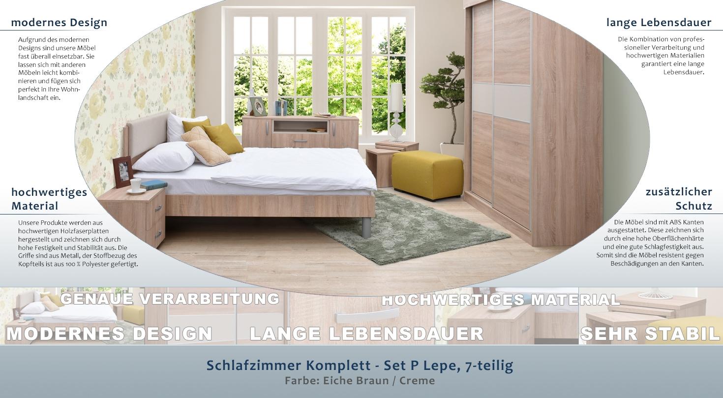 Schlafzimmer Komplett - Set P Lepe, 7-teilig, Farbe: Eiche Braun / Creme