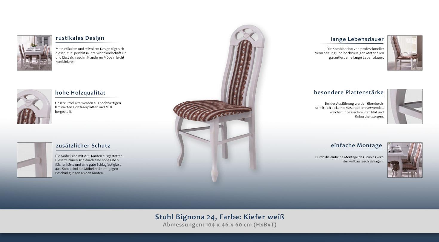 stuhl bignona 24 farbe kiefer wei 104 x 46 x 60 cm h x b x t. Black Bedroom Furniture Sets. Home Design Ideas