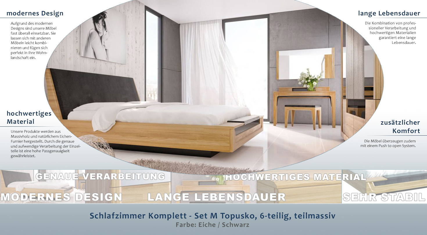 Schlafzimmer Komplett - Set M Topusko, 6-teilig, teilmassiv, Farbe: Eiche /  Schwarz
