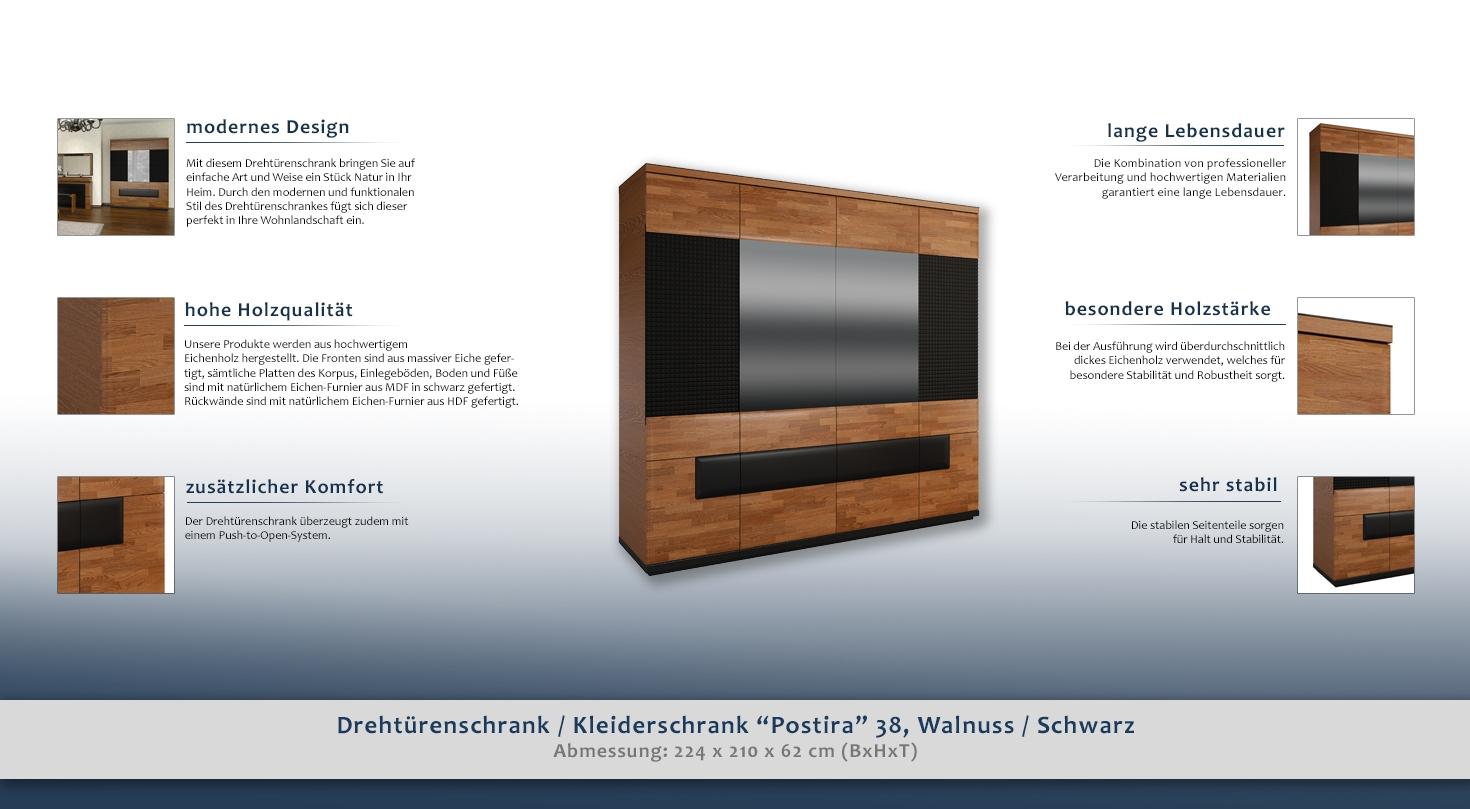 schrank walnuss schwarz teilmassiv gr e 210x224x62 cm t ren 6 h he cm 210 l nge tiefe. Black Bedroom Furniture Sets. Home Design Ideas