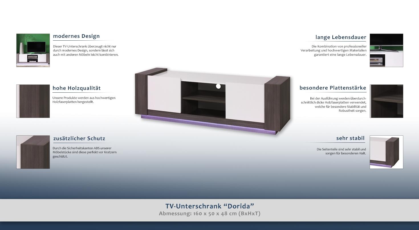 fernsehtisch farbe grau wei 50x160x48 cm t ren 2 h he cm 50 l nge tiefe cm 48. Black Bedroom Furniture Sets. Home Design Ideas