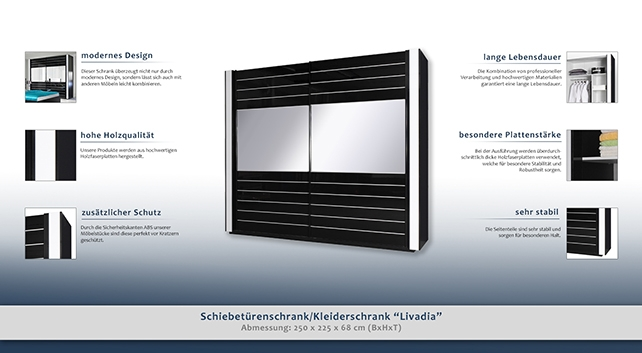 kleiderschrank breite 250 cm farbe schwarz wei t ren 2 h he cm 225 l nge tiefe cm. Black Bedroom Furniture Sets. Home Design Ideas