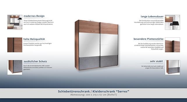 kleiderschrank breite 200 cm farbe walnuss t ren 2. Black Bedroom Furniture Sets. Home Design Ideas