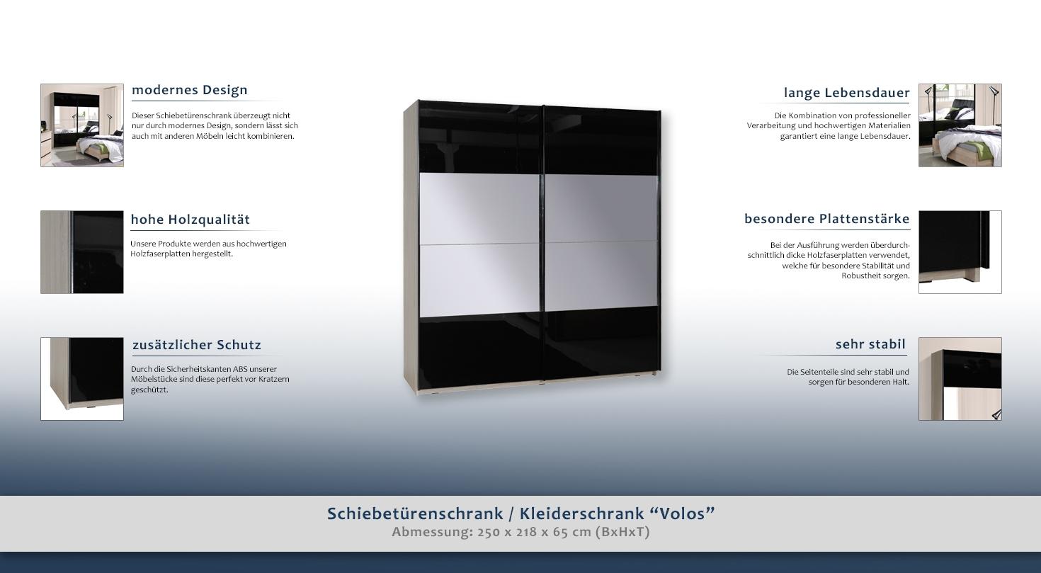 kleiderschrank t ren 2 h he cm 218 l nge tiefe cm 65 breite cm 250 material mdf. Black Bedroom Furniture Sets. Home Design Ideas