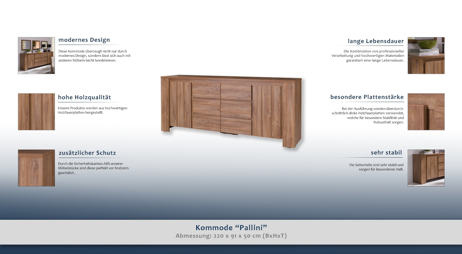 sideboard kommode farbe braun breite 220 cm t ren 2 h he cm 91 l nge tiefe cm 50. Black Bedroom Furniture Sets. Home Design Ideas