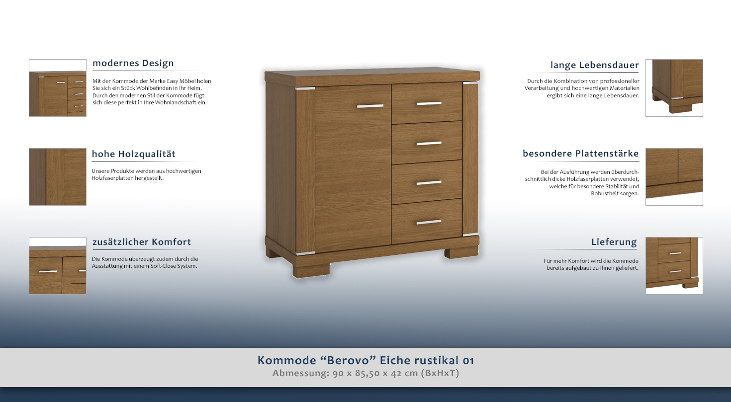 kommode berovo eiche rustikal 01 abmessungen 90 x 85 50 x 42 cm b x h x t. Black Bedroom Furniture Sets. Home Design Ideas