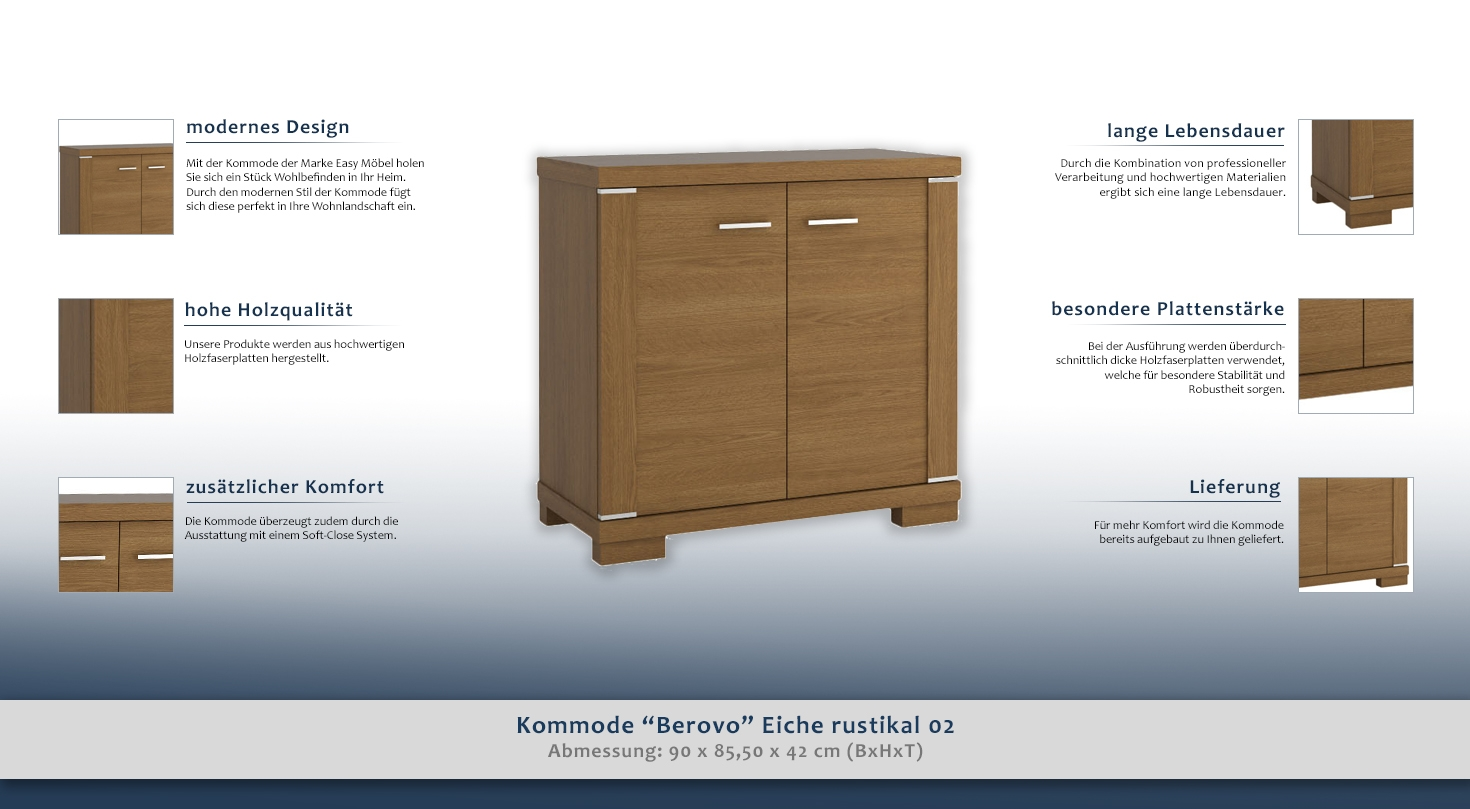 kommode berovo eiche rustikal 02 abmessungen 90 x 85 50 x 42 cm b x h x t. Black Bedroom Furniture Sets. Home Design Ideas