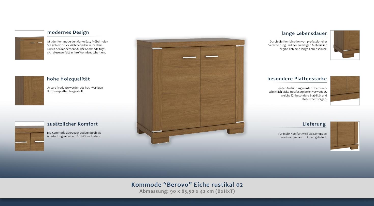 kommode berovo eiche rustikal 02 abmessungen 90 x 85 50 x 42 cm b x h x t. Black Bedroom Furniture Sets. Home Design Ideas