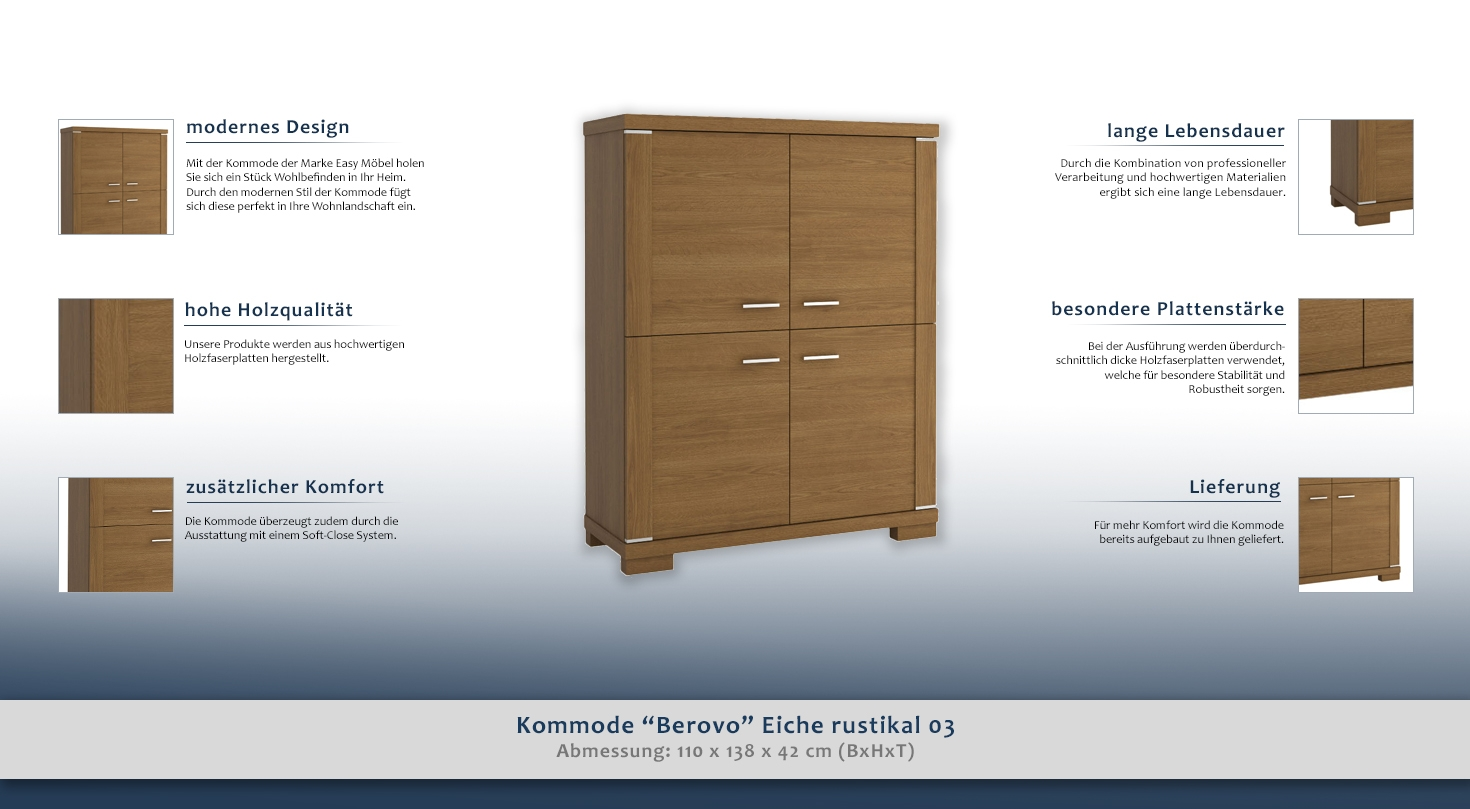 kommode berovo eiche rustikal 03 abmessungen 110 x 138 x 42 cm b x h x t. Black Bedroom Furniture Sets. Home Design Ideas