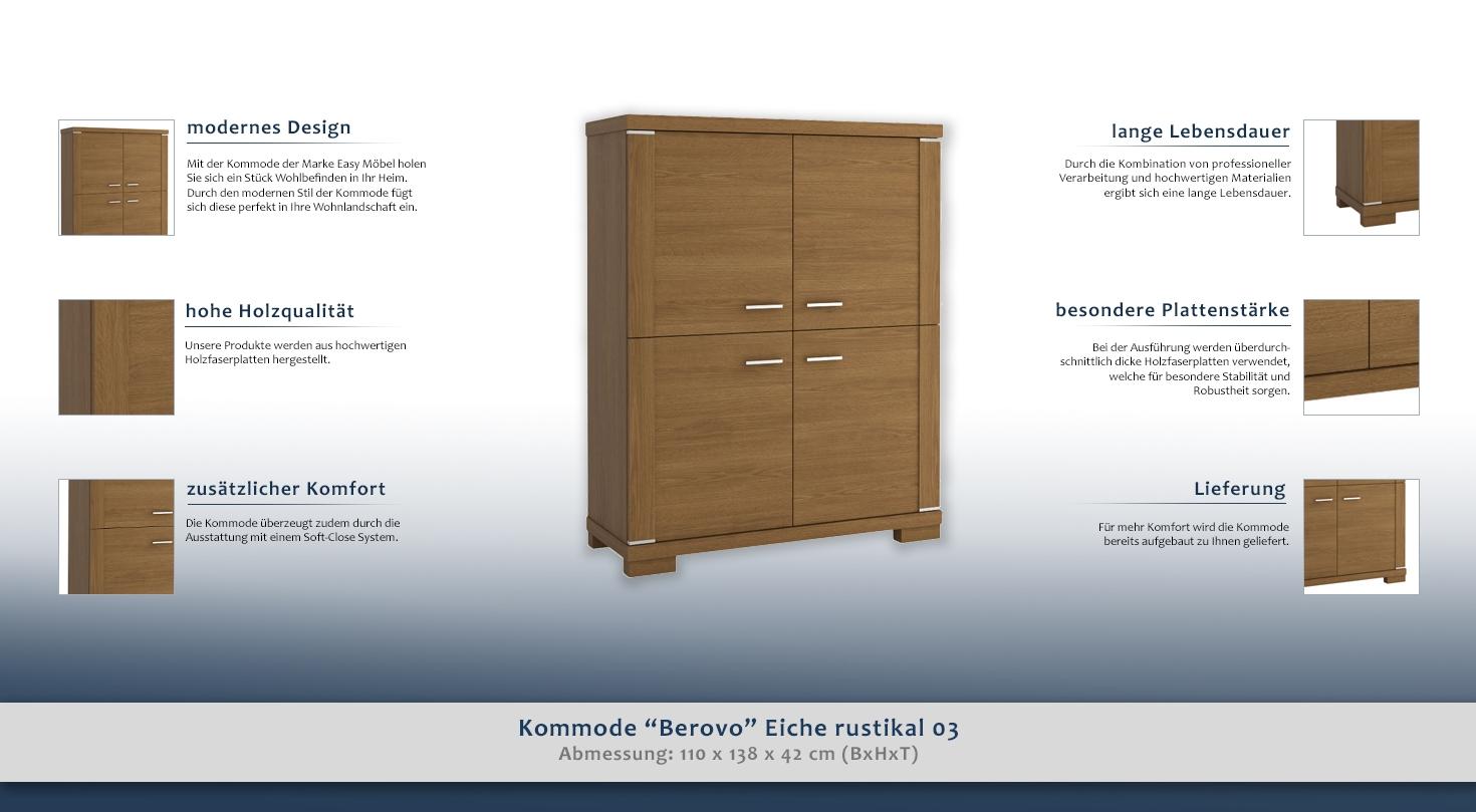 kommode berovo eiche rustikal 03 abmessungen 110 x 138 x 42 cm b x h x t. Black Bedroom Furniture Sets. Home Design Ideas