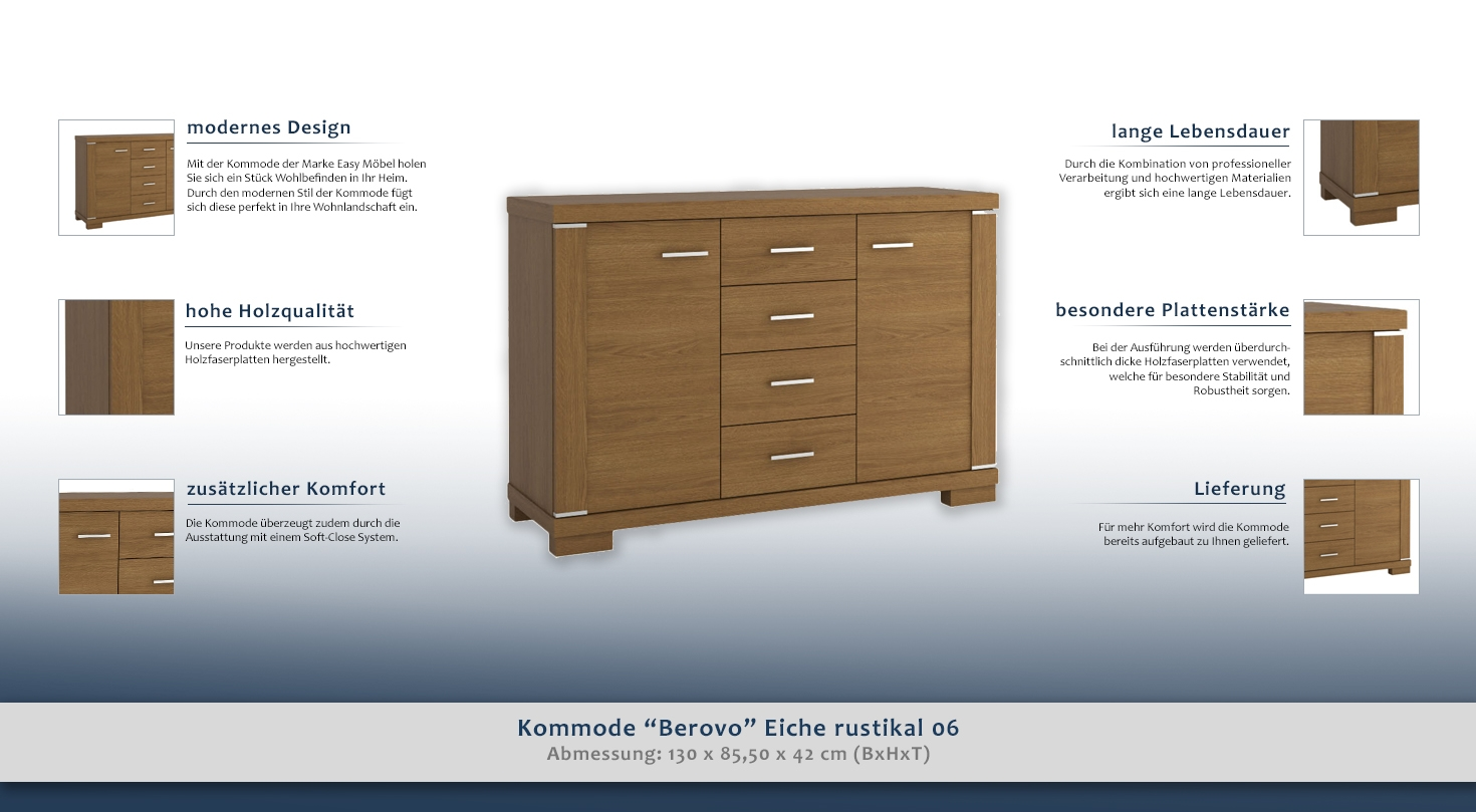 dielenschrank niedrig kommode flurschrank 130 cm breit t ren 2 h he cm 85 5 l nge tiefe. Black Bedroom Furniture Sets. Home Design Ideas