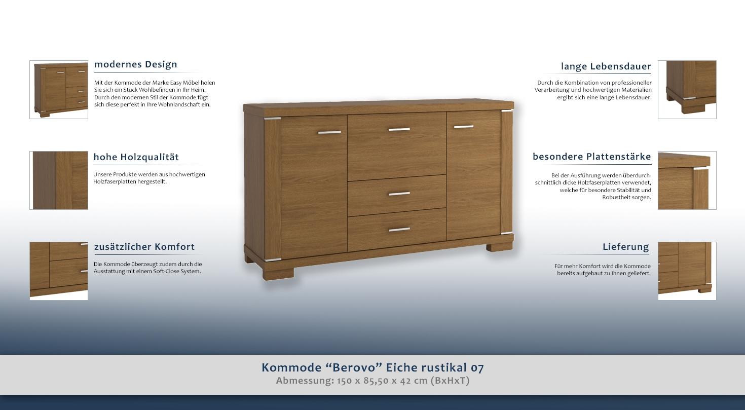 kommode berovo eiche rustikal 07 abmessungen 150 x 85 50 x 42 cm b x h x t. Black Bedroom Furniture Sets. Home Design Ideas