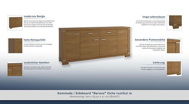sideboard anrichte kommode 200 cm breit t ren 4 h he cm 85 5 l nge tiefe cm 42 breite. Black Bedroom Furniture Sets. Home Design Ideas