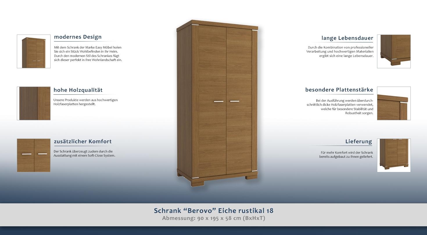 schrank berovo eiche rustikal 18 abmessungen 90 x 195 x 58 cm b x h x t. Black Bedroom Furniture Sets. Home Design Ideas