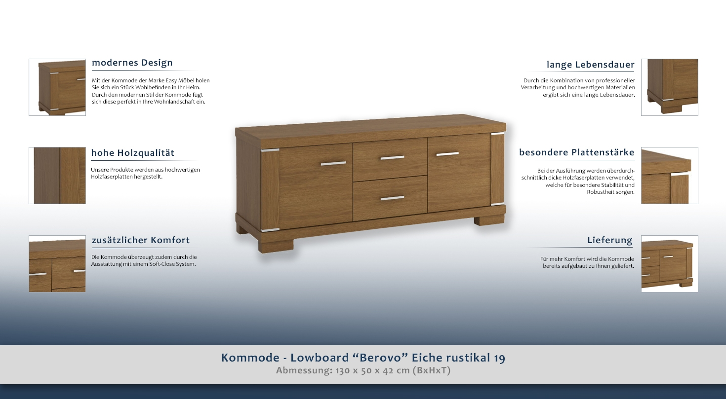 kommode lowboard berovo eiche rustikal 19 abmessungen 50 x 130 x 42 cm h x b x t. Black Bedroom Furniture Sets. Home Design Ideas