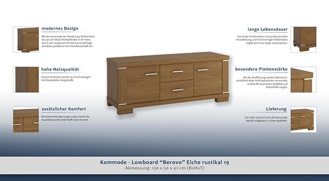 kommode lowboard berovo eiche rustikal 19 abmessungen 50 x 130 x 42 cm h x b x t. Black Bedroom Furniture Sets. Home Design Ideas