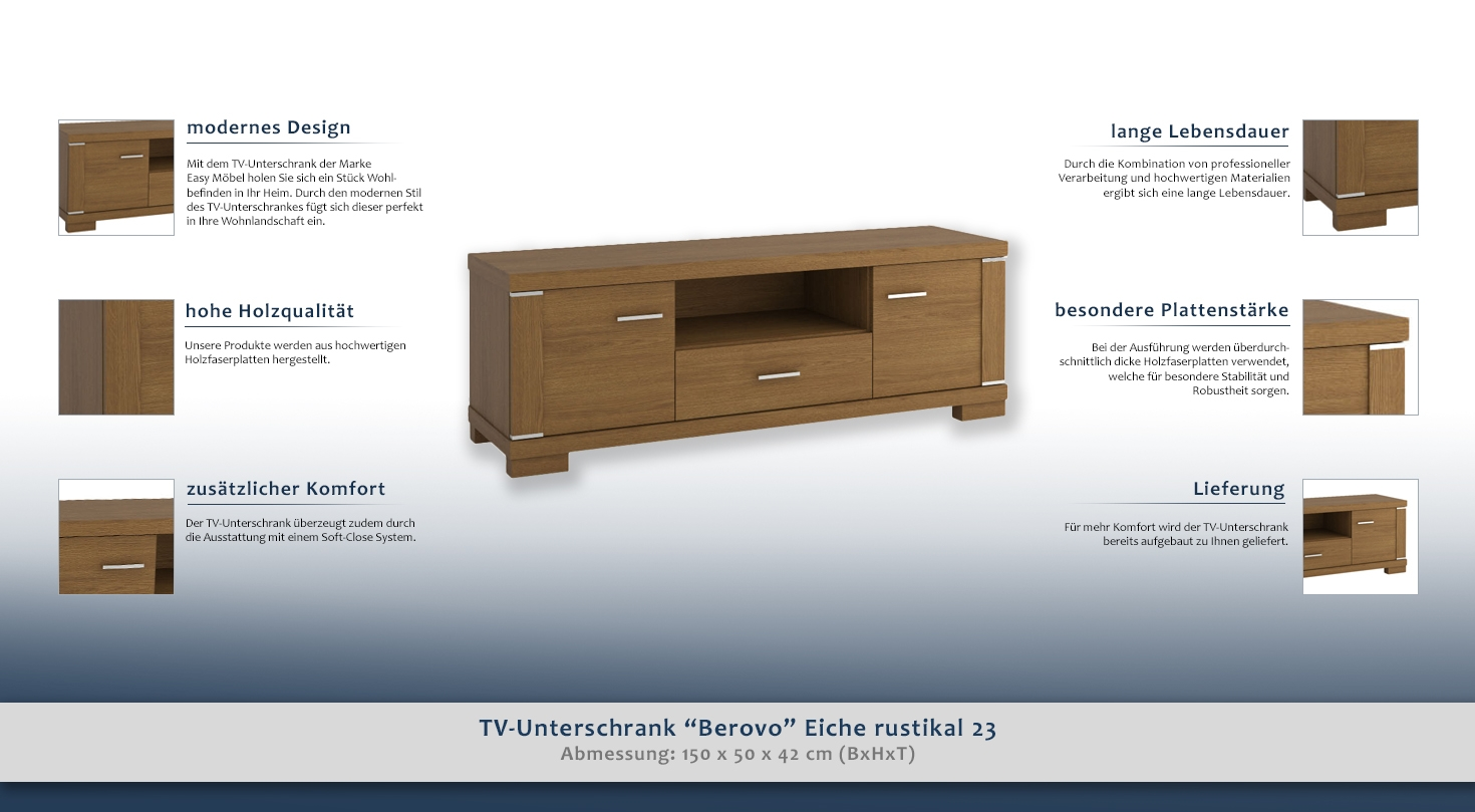 tv unterschrank berovo eiche rustikal 23 abmessungen 50 x 150 x 42 cm h x b x t. Black Bedroom Furniture Sets. Home Design Ideas