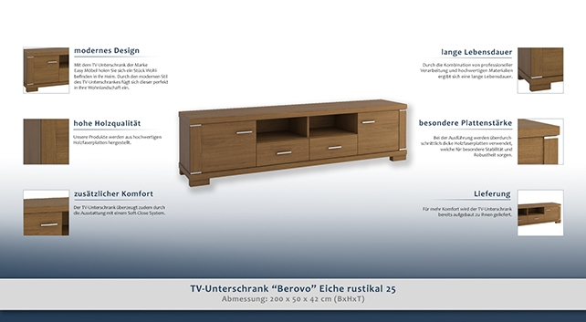 tv unterschrank berovo eiche rustikal 25 abmessungen 50 x 200 x 42 cm h x b x t. Black Bedroom Furniture Sets. Home Design Ideas