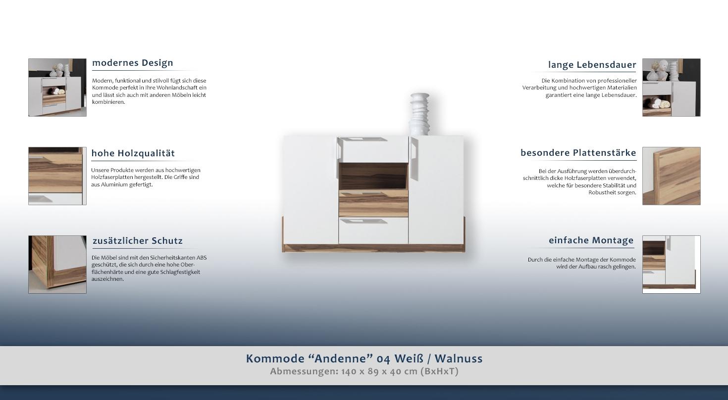 sideboard kommode farbe wei walnuss breite 140 cm t ren 2 h he cm 89 l nge tiefe. Black Bedroom Furniture Sets. Home Design Ideas